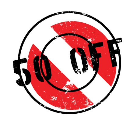 50 Off rubber stamp. Grunge design with dust scratches. Effects can be easily removed for a clean, crisp look. Color is easily changed.