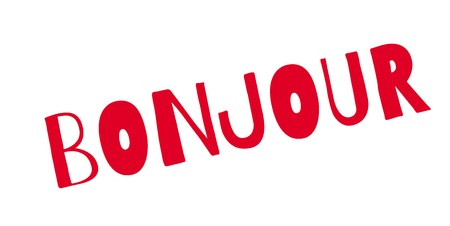 Bonjour rubber stamp vector illustration.