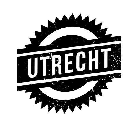 Utrecht rubber stamp, in black and white design isolated on white background