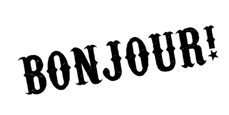 Bonjour rubber stamp Stock Photo
