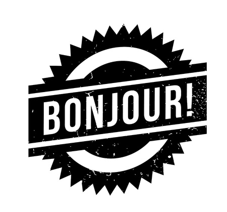 Bonjour rubber stamp. Illustration