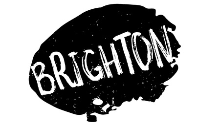 british culture: Brighton rubber stamp. Grunge design with dust scratches. Effects can be easily removed for a clean, crisp look. Color is easily changed.