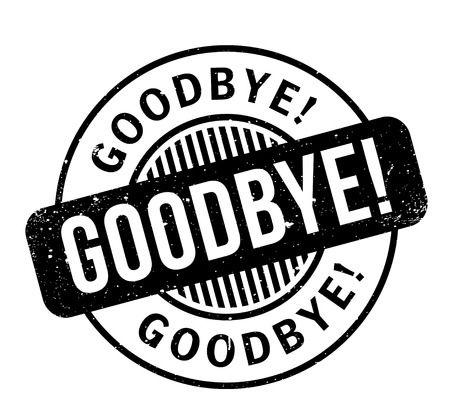 Goodbye word in italicized and capitalized white fonts inside a black rectangular shape for  rubber stamp design, isolated on white