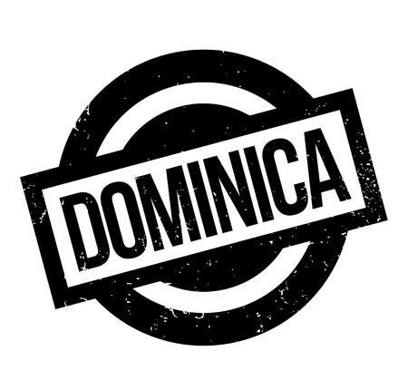 도미니카 단어 italicized 및 대문자로 된 검정색과 흰색 사각형 모양 안에 고무 스탬프 디자인, 흰색에 고립 된 글꼴