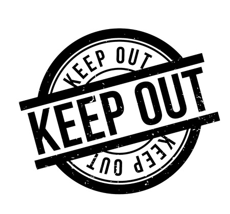 Keep Out word in italicized and capitalized black fonts inside a black border white rectangular shape for  rubber stamp design, isolated on white