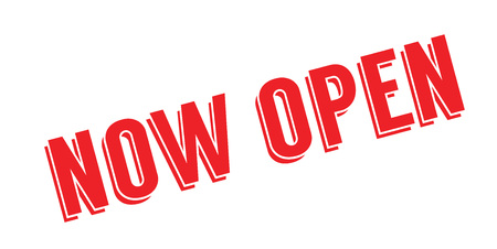 Now Open rubber stamp