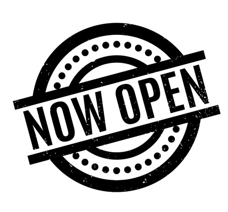 usual: Now Open rubber stamp