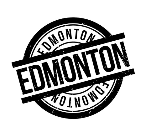 Edmonton word in italicized and capitalized black fonts inside a black border  rectangular shape for  rubber stamp design, isolated on white