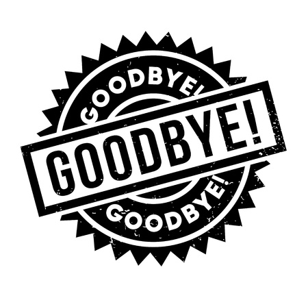 Goodbye word in italicized and capitalized black fonts inside a black and white rectangular shape for  rubber stamp design, isolated on white Illustration