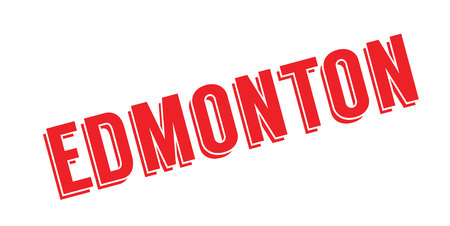 Edmonton word in a bold capitalized red font for rubber stamp design, isolated on white