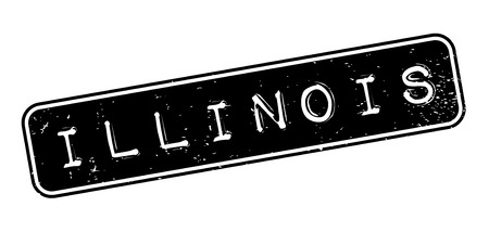 Illinois word in capitalized white font over a black rectangular shape for rubber stamp design,isolated on white