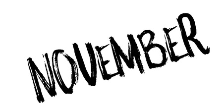 November rubber stamp. Grunge design with dust scratches. Effects can be easily removed for a clean, crisp look. Color is easily changed.