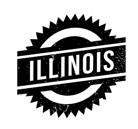 Illinois word illustrated in a white ink bold capitalized font over a black background designed for rubber stamp