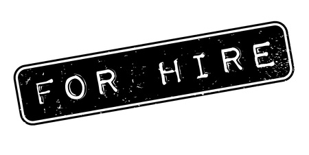 For Hire word illustrated in a white capitalized arial font over a black rectangular background designed for rubber stamp