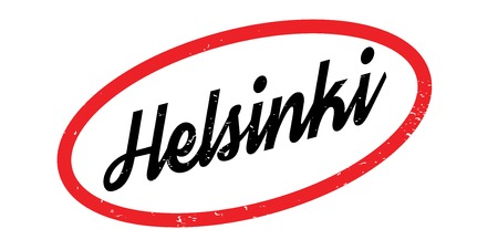 Helsinki word illustrated in a black magneto font over a white and red background designed for rubber stamp Illustration