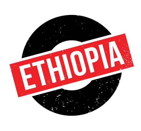 Ethiopia word illustrated in a white capitalized font over a rectangular red and black circle background designed for rubber stamp