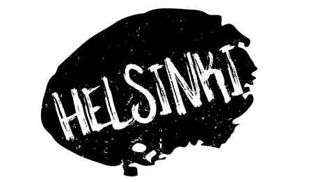 Helsinki word illustrated in a white capitalized font over a black splat grunge background designed for rubber stamp Çizim