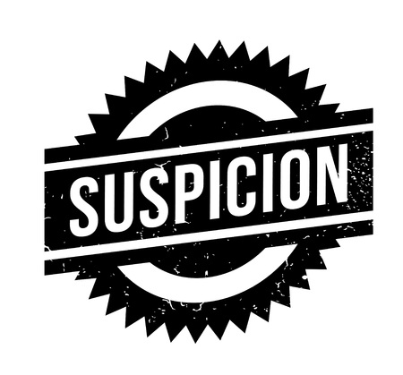 Suspicion rubber stamp. Grunge design with dust scratches. Effects can be easily removed for a clean, crisp look. Color is easily changed. Ilustração
