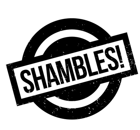 Shambles rubber stamp. Grunge design with dust scratches. Effects can be easily removed for a clean, crisp look. Color is easily changed.