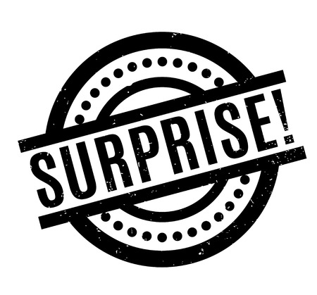 Surprise rubber stamp. Grunge design with dust scratches. Effects can be easily removed for a clean, crisp look. Color is easily changed. Stock Photo