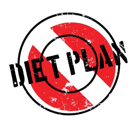 Dieet Plan rubberzegel. Grungeontwerp met stofkrassen. Effecten kunnen eenvoudig worden verwijderd voor een schone, heldere look. Kleur kan gemakkelijk worden veranderd. Stockfoto