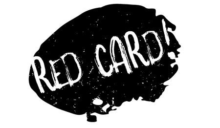 Rode kaart rubberzegel. Grunge ontwerp met stof krassen. Effecten kunnen gemakkelijk worden verwijderd voor een schone, frisse uitstraling. Kleur is gemakkelijk te veranderen. Stockfoto