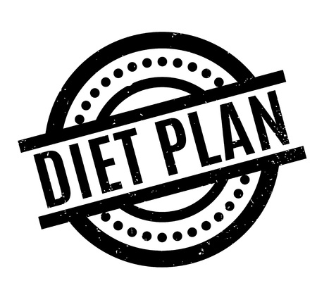 Diet Plan rubber stamp. Grunge design with dust scratches. Effects can be easily removed for a clean, crisp look. Color is easily changed.