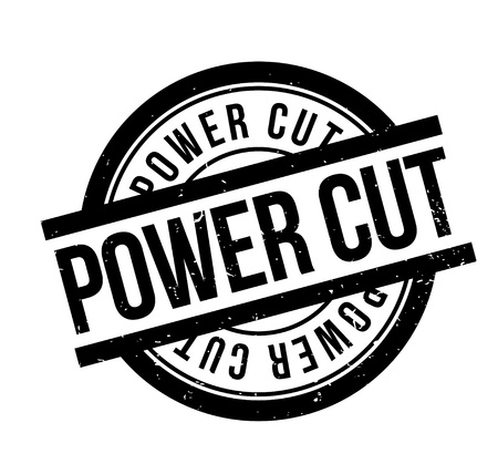 Power Cut rubber stamp. Grunge design with dust scratches. Effects can be easily removed for a clean, crisp look. Color is easily changed. Stock Photo