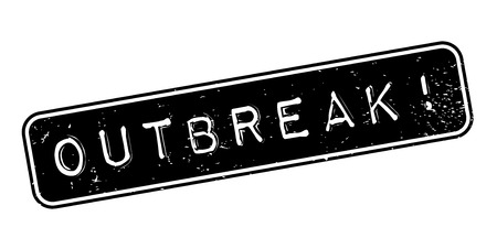 Outbreak rubber stamp. Grunge design with dust scratches. Effects can be easily removed for a clean, crisp look. Color is easily changed. Stock Photo
