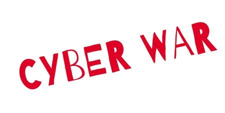 Cyber War rubber stamp Illustration