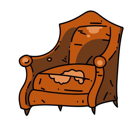 Old school stoel cartoon hand getrokken afbeelding Stock Illustratie