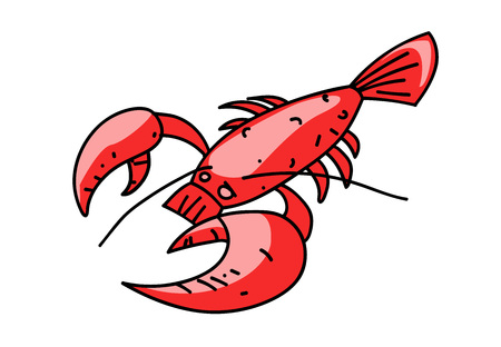 Lobster cartoon hand drawn image Çizim