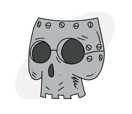 Robot skull Vector illustration. Illustration