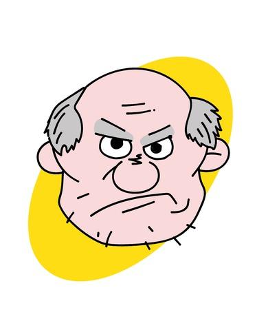 Evil old man face Vector illustration.