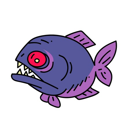 Piranha cartoon hand drawn image