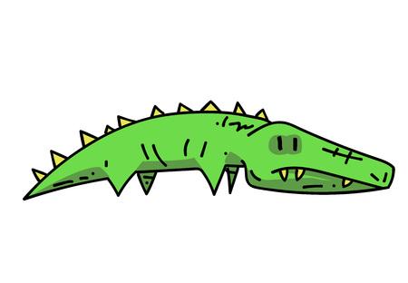 Crocodile cartoon hand drawn image Illustration