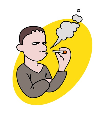 Man smoking Vector illustration.