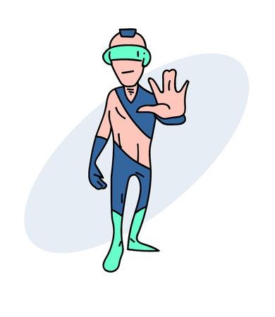 Weird future person Vector illustration. Illustration