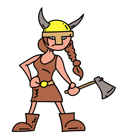 Viking girl cartoon hand drawn image