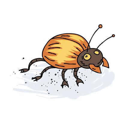 black and white: Giant bug cartoon hand drawn image