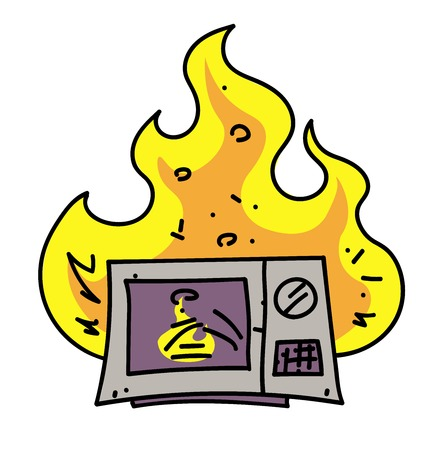 Microwave oven on fire cartoon hand drawn image