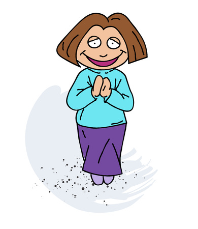 Happy woman cartoon hand drawn image