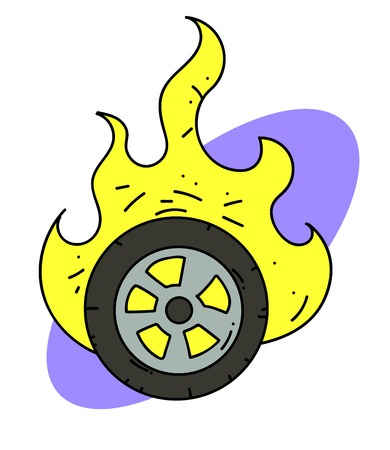 タイヤ漫画イメージの書き込み 写真素材 - 87046998