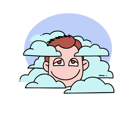 Head in clouds Illustration