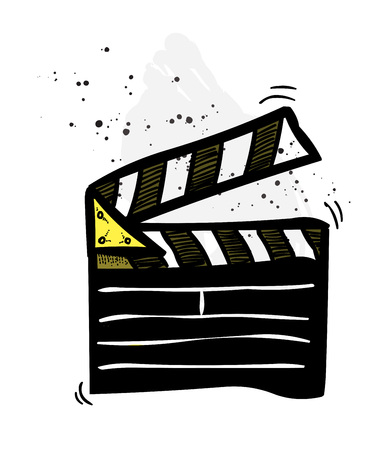 Movie clapper cartoon hand drawn image