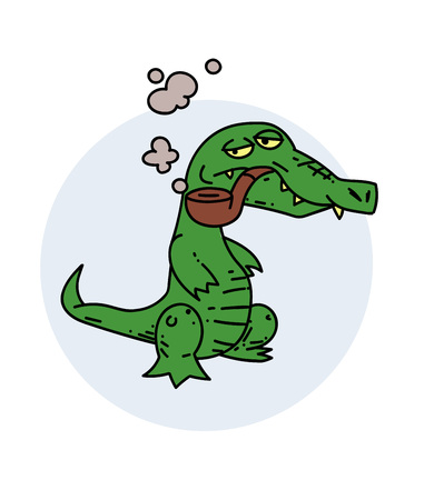 Grumpy crocodile smoking pipe