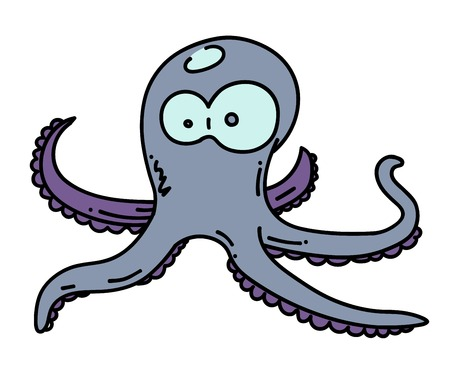 Octopus cartoon hand drawn image