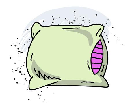 Pillow cartoon hand drawn image