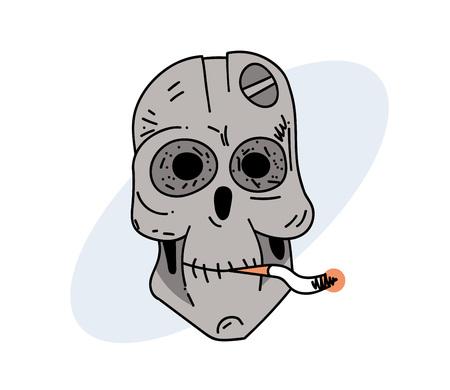 Robot skull smoking cigarette.