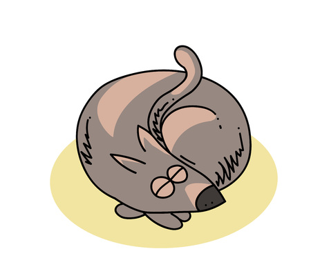 Illustration of curled up dog in yellow round background.